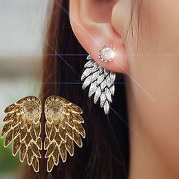 angel wings earrings Canada - Women's Angel Wings Rhinestone Inlaid Alloy Ear Studs Party Jewelry Earrings C64Z