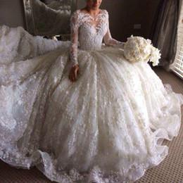 $enCountryForm.capitalKeyWord NZ - 2017 New Wedding Dresses Gorgeous Modern Lace Applique Tulle Chapel Train Jewel Long Sleeve Bohemian Style Wedding Dress Covered Button