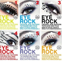 Autocollants Pour Les Yeux Pas Cher-Mode coloré Body Art Party Eye Liner tatouage autocollants Oeil de cristal de roche diamant Eye Shadow Sticker DIY 6 couleurs