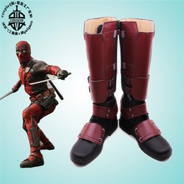 Barato Traje De Filme Adulto-Atacado-Filme Deadpool Wade Costume Adulto Men's Halloween Carnaval Cosplay Anime sapatos qualquer tamanho Free Shipping NEW