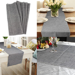 rustic natural imitated linen table runner jute decor tablecloth for wedding part table decornation khaki gray discount rustic table linens