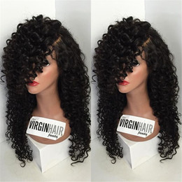 african american full wigs Canada - Best Brazilian fashion curly Long Black Human Hair Glueless Full Lace Wigs For African Americans Bleached Knots Baby Hair in stock