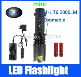 Wholesale 2000 lm Mini Handy Flashlight Led Flashlights with x Battery x Power Adapter x Car Charger x DC Charge
