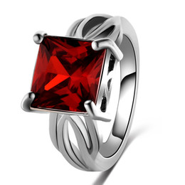 China 2016 New Romantic Women Square Cut Engagement Jewelry Red Ruby Spinel 925 Sterling Silver Ring Size 6 7 8 9 Free Shipping suppliers