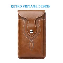 Leather Belt Clips Canada - Universal Retro Leather Pouch Waist Bag Belt Clip Holster for iP 6 6s Plus & Sam Galaxy Note 3 4 5 & more
