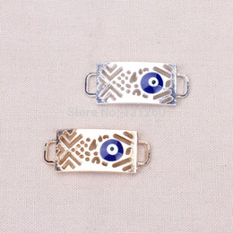 Component Connectors Canada - 10pcs lot Evil eye beads Turkish connectors alloy gold and silver charms jewelry findings components for bracelets necklaces