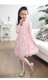 Girls dress 16 years online shopping - Spring girl long sleeve lace dress baby flower top clothing red pink black colors for years kids
