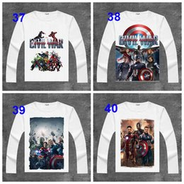 T-shirts Superman Pour Hommes Pas Cher-USA Film The Avengers2 T-shirts Iron Man Imprimer À Manches Longues Deadpool T Chemises de Bande Dessinée Tops Printemps Automne Hulk Superman T-shirts