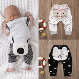 Animal Geometry Canada - Baby Leggings Cartoon Animals Harem Pants Striped Geometry Printed Trousers For Children Cotton Pants Spring Autumn Clothes Free DHL 361