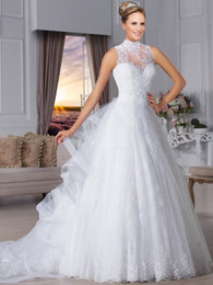 $enCountryForm.capitalKeyWord Canada - Brazil High Neck Vintage Wedding Dresses 2017 Sleeveless Ruffles Draped Bridal Gowns Plus Size 2016 Ball Gown Bridal Gowns Cheap