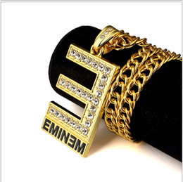 gold plating letter pendants Canada - hip hop Rock 24k gold plated Big E EMINEM letter Char CZ crystal Filled Crystal Iced Out Pendant Necklaces Punk Rapper Necklace jewelry