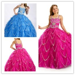 $enCountryForm.capitalKeyWord Canada - High Quality 100% Handmade Luxurious Shiny Sequins Rhinestone Ball Gowns Girl Birthday Part Prom Dresses Sleeveless Pageant Gowns Custom