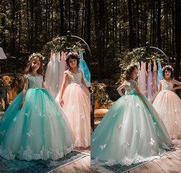 Discount evening gowns kids - 2018 New Design Mint Green Girls Pageant Dresses Ball Gown Lace Appliqued Butterflies Kids Evening Prom Party Gowns