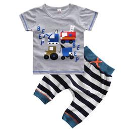 Baby Boy T Shirt Cars Canada - 2017 baby boy clothes sets striped cartoon car t shirt infant boy haren pants cotton tees toddler boys tops quality kids shorts