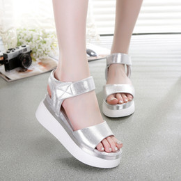Cheap Silver High Heel Shoes Canada - Hot New Fashion Ladies Sandals Muffin Fish Mouth Thick High Quality Cheap Brand Shoes Free Shipping