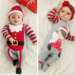 $enCountryForm.capitalKeyWord Canada - hot sale babies rompers Xmas Santa Claus Toddler Baby Boy Girl Jumpsuit+Hat Headband Outfits christmas perfect gift for girls Sets wholesale