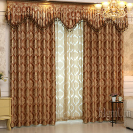 Discount Curtain Rods Double Set Luxury Window Curtains+Valance For Living  Room Bedrooms Jacquard Curtains