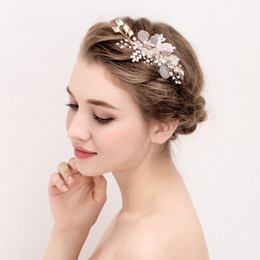 Gold vines online shopping - beijia Fashion Handmade Pearl Flower Hair Jewelry Bridal Clip Gold Leaf Wedding Hair Vine Accessiories Women Headwear