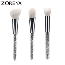 $enCountryForm.capitalKeyWord Australia - Zoreya Brand 3pcs Lots Crystal Makeup Brush Set For Beautiful Women Foundation Brush Blush Make Up Brush Tools
