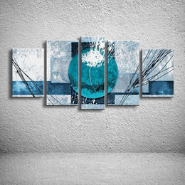 line art wall painting 2020 - 5 Panel Wall Pictures Hand Painted Geometric Blue Oil Painting Abstract Graffiti Line Acrylic Paintings Canvas Home Deco