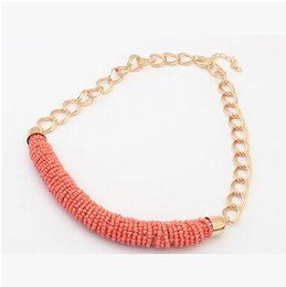 Chunky Chains online shopping - Chunky Chain Simple Necklace Manual cylinder Beads Necklace Jewelry for Women Lady Girl Seven Colors Can Choose