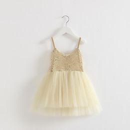 Wholesale clothing girl casual free shipping for sale - Group buy EMS DHL little girls Kids Golden Party Princess Tulle Beaded Sequin Dress Summer Dress Casual Clothes Holiday wear