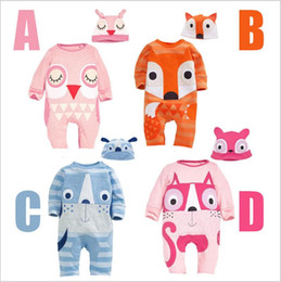 fox jumpsuit Australia - Baby Clothes Kids Fox Outfits Boys Animal Romper Hats Suits Girls Fashion Cotton Onesies Caps Long Sleeve Casual Jumpsuit Kids Clothing 3298