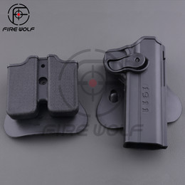 Gun holsters online shopping - 1911 Gun Holster Polymer Retention Roto Holster and Double Magazine holster Fits Style Airsoft Tactical