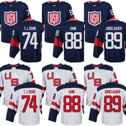 Chinese  Mens Team USA 74 T. J. Oshie 88 Patrick Kane 89 Justin Abdelkader 2016 World Cup of Hockey Olympics Game Jerseys M-3XL manufacturers