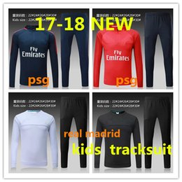 Barato Terno Do Menino Para Esportes-HOT 2017 2018 Kids Long Sleeve Real Madrid Tracksuit Jogging Boys Soccer kit Futebol Suit Sport madrid atletico 17 18 Ronaldo training SUIT
