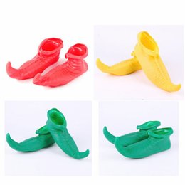 Costumes Cosplay Elf Pas Cher-Halloween Costumes adultes Cosplay robe Clown chaussures Joker pointu pour Noël Festival Elf Latex chaussures boule de maquillage wen4500