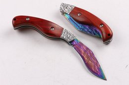 High End Damascus Folding Knives Canada - Wholesale High END Damascus steel folding blade knife EDC Pocket knife Outdoor camping hiking survival rescue knives with genuine sheath