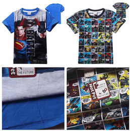 Chemises Supermen Pas Cher-2016 Batman VS Superman T-shirts Cartoon Superhero T-shirts pour enfants Baby Boys Short Sleeve Summer Tee shirts 6 styles 4pcs / lot D575 20