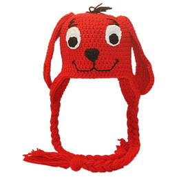 crochet baby earflap hat UK - Novelty Red Puppy Earflap Hat,Handmade Knit Crochet Baby Boy Girl Dog Animal Hat,Toddler Winter Hat,Infant Photography Prop