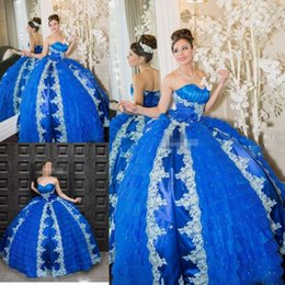 Robes De Bal Bleu Corset Pas Cher-Royale Blue Ball robes sweetheart Corset Prom Party Backless Applique perles Ruffles 2017 Quinceanera Robes Custom Made