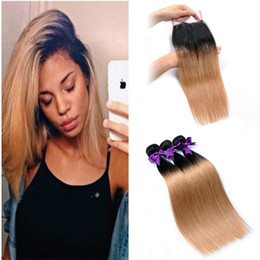 $enCountryForm.capitalKeyWord NZ - 100% Human Hair Extensions 2 Tone Ombre 1B 27 Honey Blonde Straight Malaysian Virgin Hair Weaves 3 Bundles With 4*4 Lace Closure