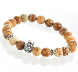 $enCountryForm.capitalKeyWord Canada - Natural Stones Silver Lion Charm Bracelets With silver Crown Fashion Agate Beads Men Bracelets Women Winding Jewelry Accessories