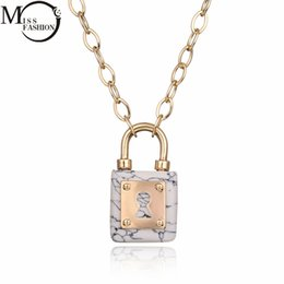 lock link chain Canada - Wholesale- New Summer Style Simple White Faux Marble Stone Lock Shape Pendant Gold Color Chain Necklaces Women Fashion Jewelry collier