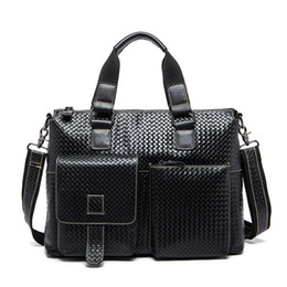 Discount men leather tote bags - Wholesale- Hot 100% Genuine Leather men bag Brand New men's briefcase business Shoulder Bags men's travel bags