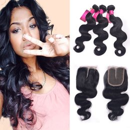 Hair Halo Wholesale NZ - Halo Hair 6A Grade Indian Body Wave Closure 3Pcs Indian Remy Weave And 4*4 Lace Closure Indian Virgin Hair Extensions Body Wave Dyeable