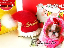 $enCountryForm.capitalKeyWord Australia - Dog Christmas hat clip Hair Clips Pet Hair Accessories Dog Jewelry Cat Hairpin Grooming Yorkshire sparkling Jewel