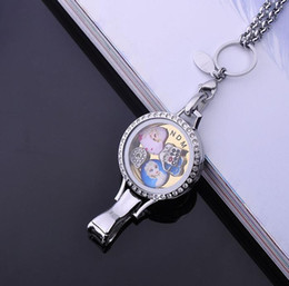 Discount halloween lanyards 2016 Newest steel color 25mm 30mm Rhinestones Stainless Steel lanyard origami ID floating lockets pendant for hospital 3