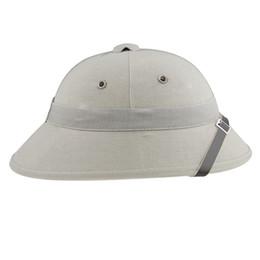 China Wholesale-VIETNAM WAR ARMY HAT NVA VIETCONG VC PITH HELMET GRAY-33662 cheap hat war suppliers