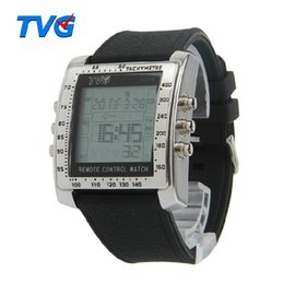 Chinese  New Rectangle TVG Remote Control Alarm TV DVD remote Men and Ladies Steel Rubber Strap Sports Wrist Watches Drop Shipping manufacturers