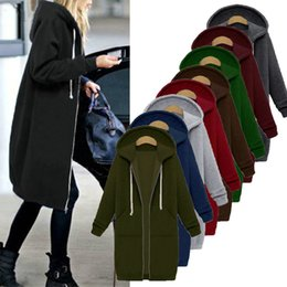Barato Longo Zip Hoodies Para As Mulheres-Oversized Autumn Women Casual Long Hoodies Sweatshirt Brasão Bolsos Zip Up Outerwear Casaco com capuz Plus Size Tops