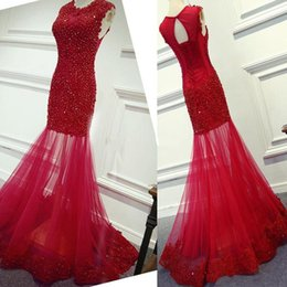 $enCountryForm.capitalKeyWord NZ - 2017 sexy Fashion jewel red lace Applique sequin beaded Mermaid Prom Dress See Through Evening Gowns Party Formal Dresses