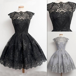 Short Red Lace Prom Vintage Dress Australia - Short Dresses For Prom Black Vintage Lace Appliques Sheer Real Photos 2016 Party Gowns Jewel Princess Tulle Puffy Grad Dress