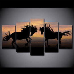 abstract canvas horse oil painting 2019 - 5 Piece Framed HD Printed Galloping Black Horses Modern Home Wall Decor Poster Canvas Art Painting Printed Wall Pictures