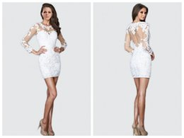 $enCountryForm.capitalKeyWord Canada - Tee sheath Cocktail Dresses 2016 new long-sleeved lace applique Prom mini skirts sexy backless fashion party Evening Gown plus size