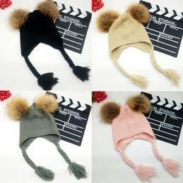 Cotton Braiding Australia - New Design 2pcs Pompom Children Beanie Cute Baby Girls Boys Braid Beanie Cotton Winter Hats Custome Caps